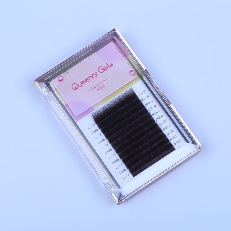 Synthetic Hair Eyelash Individual Extensions 0.05mm Caramel Color 6-16MM Length